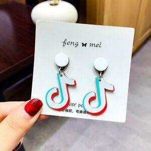 2021 Acrylic Music Note Earrings Tik Tok Drop Dangle Ear Stud Women Jewelry Gift