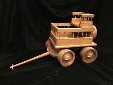 Folk Art Handmade Wooden Hay Wagon ~ Removeable Seat ~ Moveable Wheels