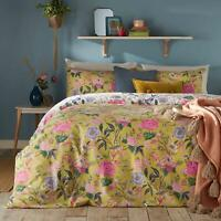 BRIGHT FLORAL BLOOMS FLOWERS YELLOW COTTON BLEND KING SIZE DUVET COVER