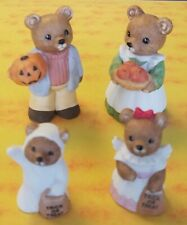 Homco Home Interiors Fall/Harvest Halloween Bear Figurines 4 Piece Set #5209