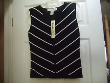 Linda Lucia Ladies Sleeveless Shell Top - Black & White - Size M - NEW With TAGS