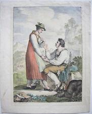 Josef Anton Rhomberg (1786-1855) Gamsjäger Kreidelithografie Inkunabel 1817