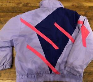 Vintage Obermeyer Ladies Size 10 Purple Neon Pink Windshear Ski Jacket Coat