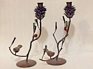 2 Rustic Metal Candle Holders Pinecone Bird Stylized On Evergreen Branch12""