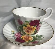 Royal Stuart Tea Cup and Saucer  Fine Bone China Pink,Yellow,Red Roses  England