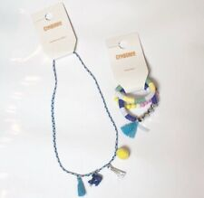 Gymboree   Girls Set Of Necklace And Bracelet With Blue Fish And Yellow Sequins