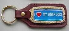 Vintage Goldtone I Love My SHEEP DOG Brown Leather Dog Keyring Key Holder