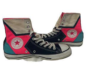 Converse All Star Chuck Taylor High Tops Black Hot Pink Shoes M 7 Women 9 VTG