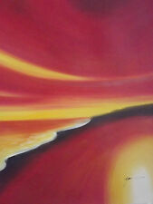 abstract red yellow minimal beach sea scape ocean large oil painting original