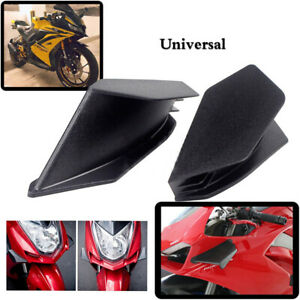 2x Universal Black Winglet Aerodynamic Wing Spoiler Kit For Kawaski Yamaha Ninja