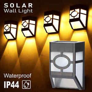 4x Bright Outdoor Led Solar Powered Wall Lights Door Fence Garden Pathway lamp