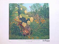 Henri Rousseau litho Tigre attaquant un buffle art naif primitivisme art