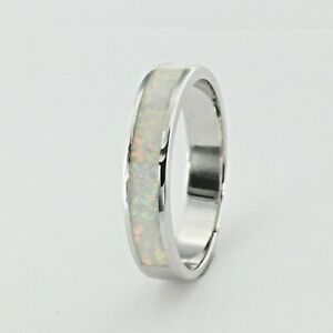Size 8 - White lab FIRE OPAL Band Ring 925 STERLING SILVER - Rhodium #142