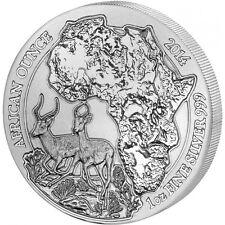 *2014 Rwanda IMPALA 1oz Silver 999 African Wildlife Bullion Coin BU*