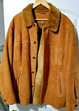 UGG Australia Genuine Brown Leather Fur Coat Jacket Button Men's Size L Large