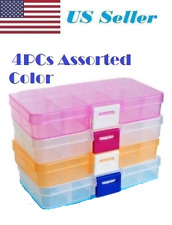 4PCs Adjustable 10 Compartment Plastic Storage Box Case Jewelry Bead Tackle