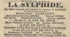 *19TH CENTURY BALLET: MARIE TAGLIONI & FANNY ELSSLER 1833 LA SYLPHIDE PROGRAM*