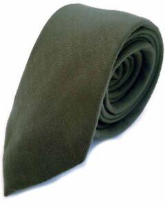 Luxury Gentlemens Olive Green Country Checked Skinny Tie Tweed Woven Wool Style