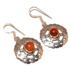 Gold Sunstone Cabochon Gemstone Silver Overlay Handmade Filigree Circle Earrings