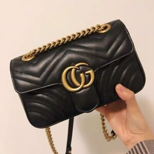 Authentic Gucci GG Marmont Leather Handbag Gucci Matelasse Shoulder Bag Black