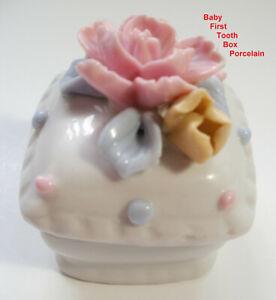 BABY FIRST TOOTH FAIRY BOX Keeper Keepsake Flower Porcelain Trinket GREAT Gift