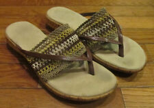 Womens Size 7 Wood Wooden Clog Flats Sandals Beach Casual Shoes