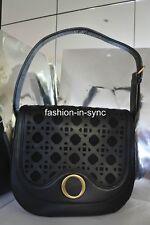 OROTON Safari Satchel Black Leather Gold tone hardware Shoulder Bag New RRP $395
