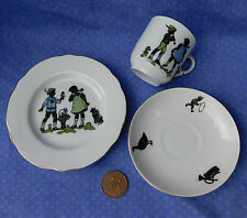 Victoria Czech porcelain child's tea cup saucer plate dachshund dog vintage