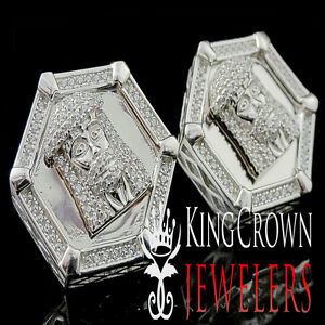 14k White Gold On Real Silver Big Look Rapper Style Jesus Face Earring Studs