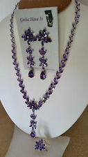 SPECIAL OCCASION & BRIDAL PURPLE CUBIC ZIRCONIA NECKLACE EARRING & RING SET