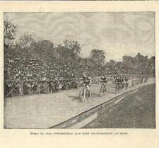 Stampa antica CICLISMO corsa biciclette all' Arena di Milano 1893 Antique print