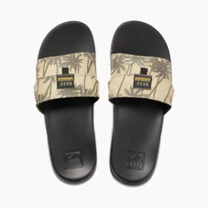 Men's Reef Stash Slides / Sandals - Tan Palm - Sizes 9-12