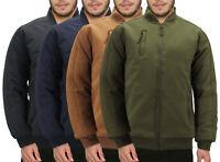 Men's Multi Pocket Casual Water Resistant Zip Up Quilted Work Bomber Jacket