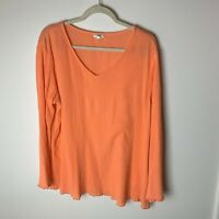 J. Jill Women's Top Size XL V-Neck Long Sleeves Orange Lightweight Casual Work