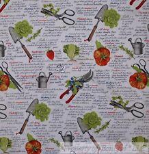 BonEful Fabric FQ Cotton Quilt VTG White Green Red Garden Vegetable Food Tomato