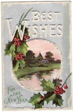 ANTIQUE 1910 BEST WISHES FOR THE NEW YEAR ICICLE LETTERS HOLLY EMBOSSED POSTCARD