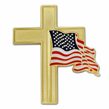 CROSS WITH AMERICAN FLAG GOLD ENAMEL BADGE LAPEL PIN