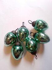 Set of 6 Mini Green Bulb Mercury Glass Ornaments