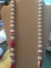 Vintage MONET CHUNKY Red & White Beaded Long Necklace Very Rare & Unique!