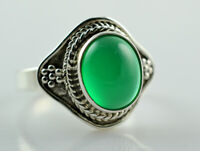 Green Onyx Silver Ring 925 Solid Sterling Silver Handmade Jewelry Size F-Z 1/2