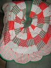 Christmas Tree Skirt Red Quilted Scalloped Handmade Patchwork Poinsettias Holly