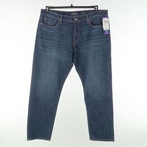 Lucky Brand 221 Mens 40x30 Dark Wash Regular Fit Straight Blue Jeans $79.50
