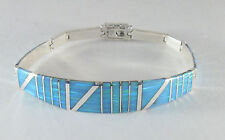 ".950 silver light blue opal bracelet with long curved centerpiece 6 1/2"" long"