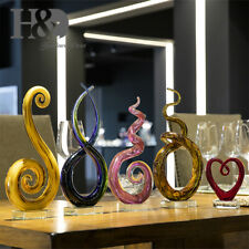 Murano Style Hand Blown Art Glass Stands Table Centerpiece on Crystal Base Gifts