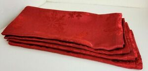 Four (4) THRESHOLD™ Embossed Red 100% Polyester CLOTH NAPKINS from Target - NEW