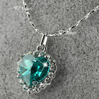 18K WHITE GOLD FILLED MADE WITH SWAROVSKI CRYSTAL HEART PENDANT NECKLACE