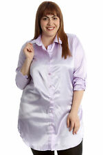 New Womens Plus Size Shirt Ladies Faux Satin Plain Collared Top Button Closure