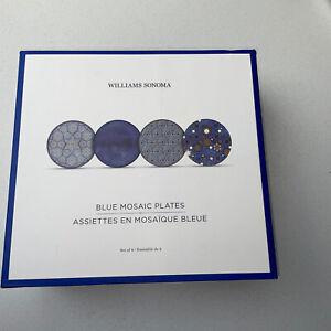 Williams Sonoma/Hanukkah/ Blue Mosaic Salad Plates Set of 4 NEW IN BOX