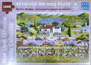 Narelle Wildman 1000 pc jigsaw puzzle, Saturday Morning Footy, Blue Opal Puzzle