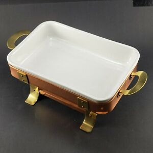 Copper Ceramic Chafing Dish Food Warmer Portugal Warming Tray Rectangle 8 X 12